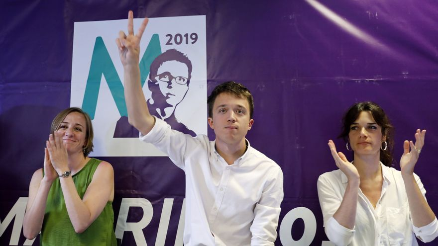 Tania Sánchez, Íñigo Errejón y Clara Serra, en el acto de las primarias de Podemos en Pozuelo.