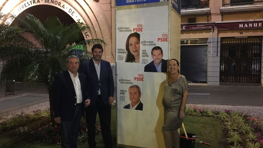 Patricia Hernández junto a José Ángel Martín (c) y Aurelio Abreu.