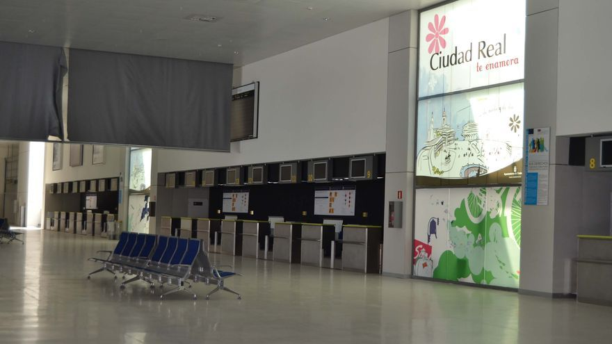 Interior del aeropuerto de Ciudad Real, zona de check-in