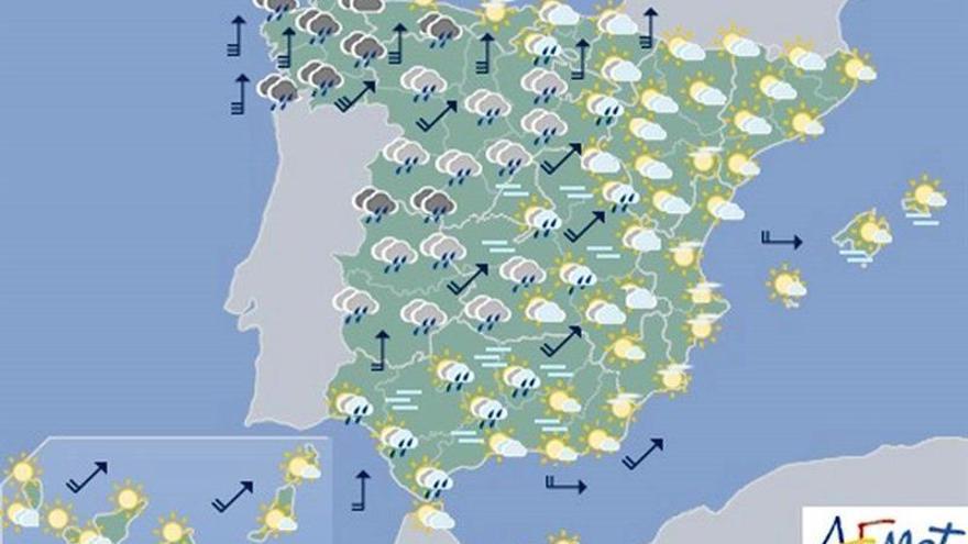 Hoy, nieve en el norte de Castilla y León y lluvias fuertes en Cádiz