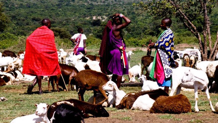 Integrantes de la tribu Massai en las inmediaciones del Ngorongoro. EFE