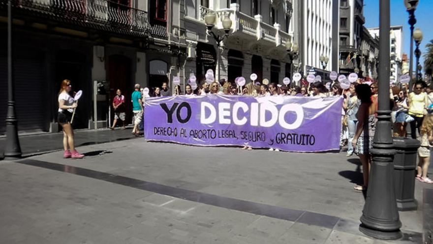 Manifestación contra la reforma de la Ley de Plazos del Aborto en Las Palmas de Gran Canaria.