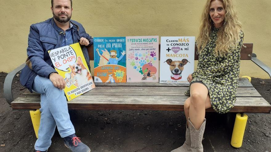 José María Rivera, concejal de Atención a las Mascotas  del Ayuntamiento de Los Llanos de Aridane, y Ester Campo, presidenta de la Protectora de Animales y Plantas Benawara.
