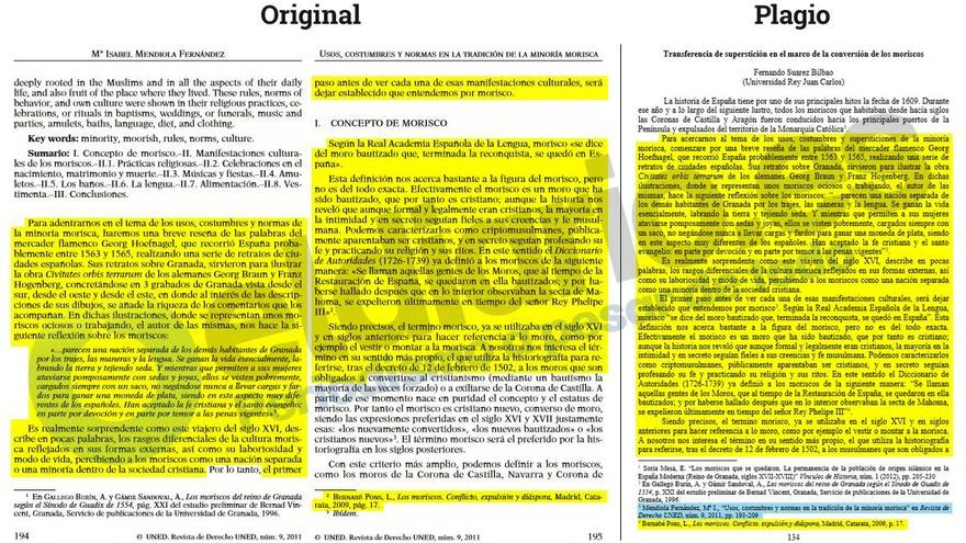 El rector Fernando Suárez copia párrafos completos a Isabel Mendiola.