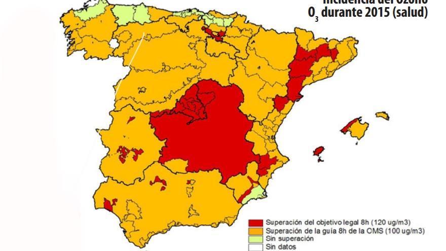 Mapa del Ozono en Castilla-La Mancha