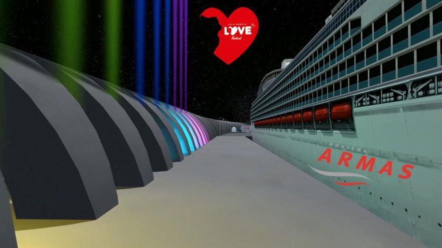 Imagen virtual de la Naviera Armas y el Love Festival.