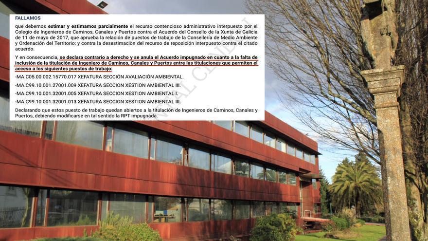 Fragmento de la sentencia del TSJG y sede de la Consellería de Medio Ambiente