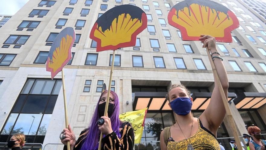 Protesta de Extinction Rebellion ante la sede de la petrolera Shell en Londres