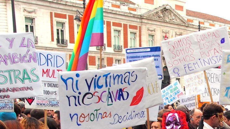 Manifestación de prostitutas bajo el lema 'Madrid me multa', el 15 de febrero de 2014.