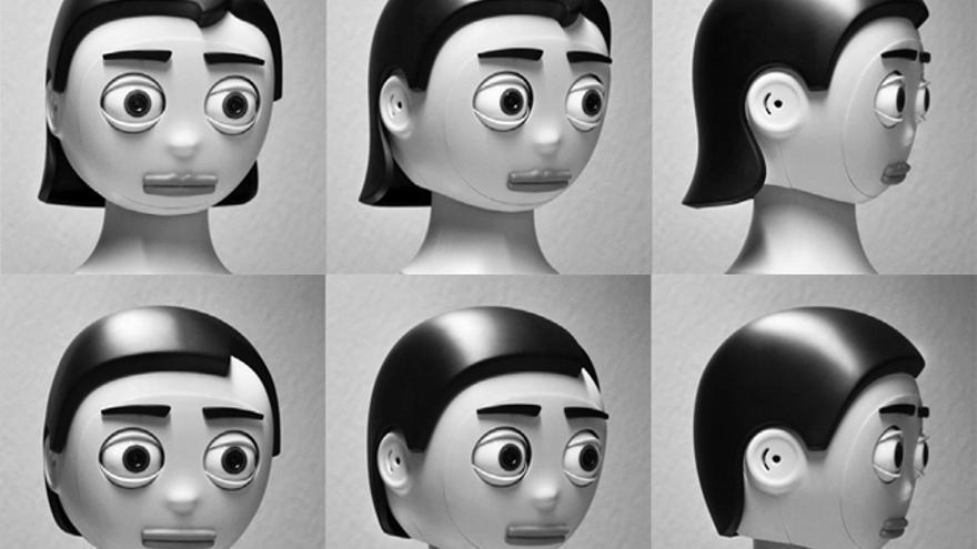 La cabeza robótica Flobi con rasgos femeninos y masculinos desarrollada por la Universidad de Bielefeld (Alemania)
