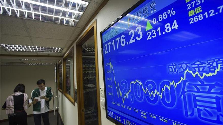 Índice Hang Seng baja un 1,23 por ciento a media sesión
