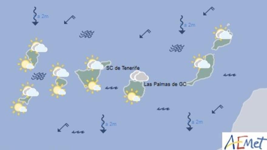 Mapa con la previsión meteorológica para este lunes, 1 de mayo de 2017
