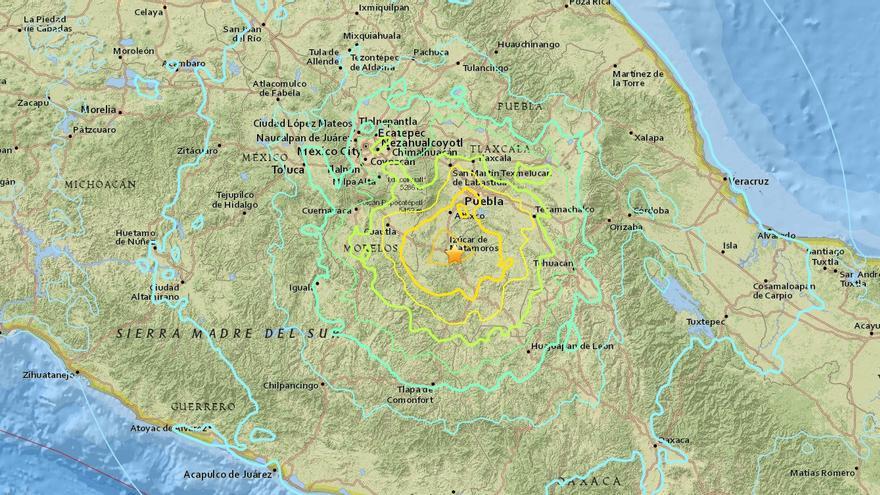 Epicentro del terremoto registrado el 19 de septiembre en México