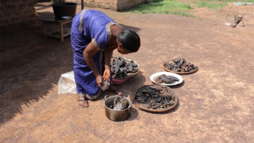 Marianne -nombre ficticio- vende pescado para ganarse la vida en una aldea de Costa de Marfil. En marzo de 2011 la milicia de los dozo -paramilitares- atacaron su pueblo, violándola y matando a su hijo. Copyright: Amnistía Internacional