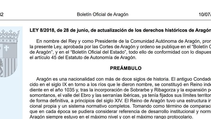 Boletín Oficial de Aragón del día de la publicación de la Ley de Actualización de los Derechos Históricos de Aragón.
