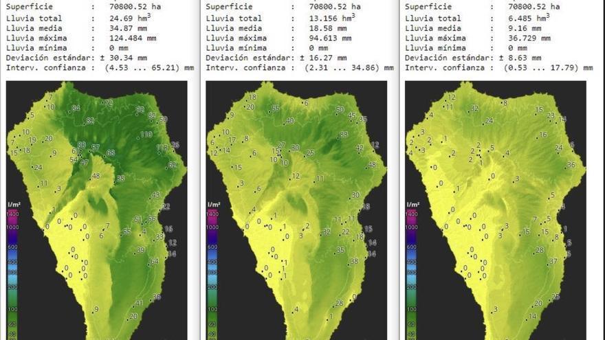 Mapas y  datos de HD Meteo La Palma de la lluvia caída en las Islas en los meses de enero (25 días)  de los años 2018,  2019 y 220.