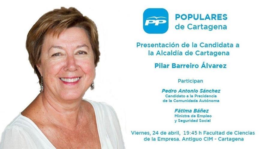 PP Cartagena presenta este viernes a Barreiro y a su candidatura con la presencia de Fátima Báñez
