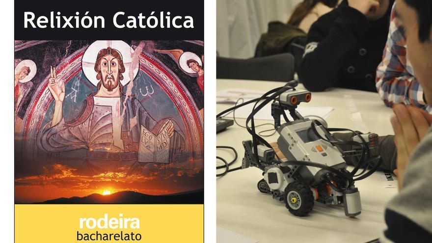 Un libro de Religión de Bachillerato y alumnado de Robótica de un centro educativo gallego