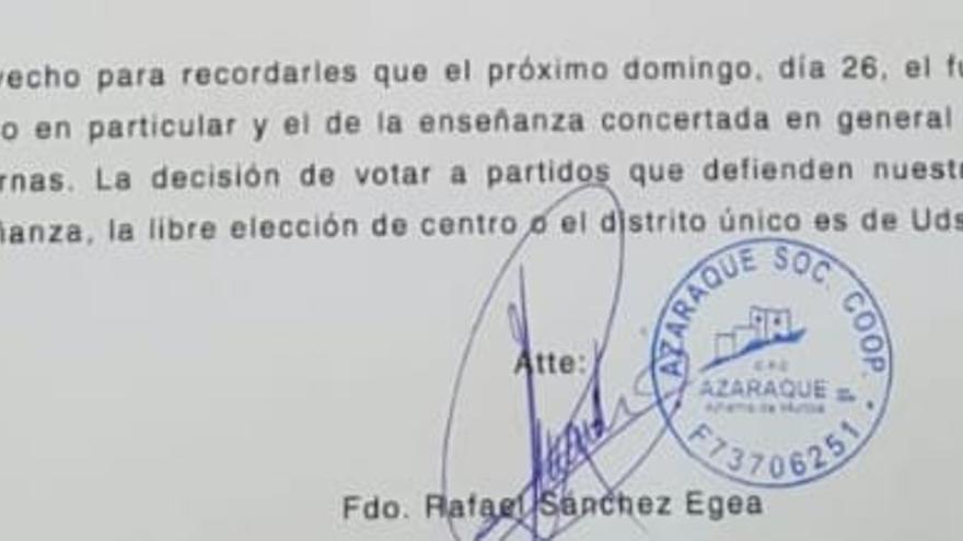 Carta enviada por el colegio concertado Azaraque en el que se pide el voto para los partidos que defienden la educación concertada