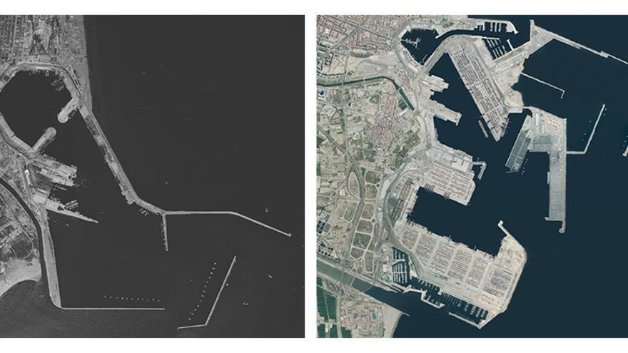 El puerto de Valencia en dos imágenes de 1945 y 2018 del Instituto Cartográfico de Valencia