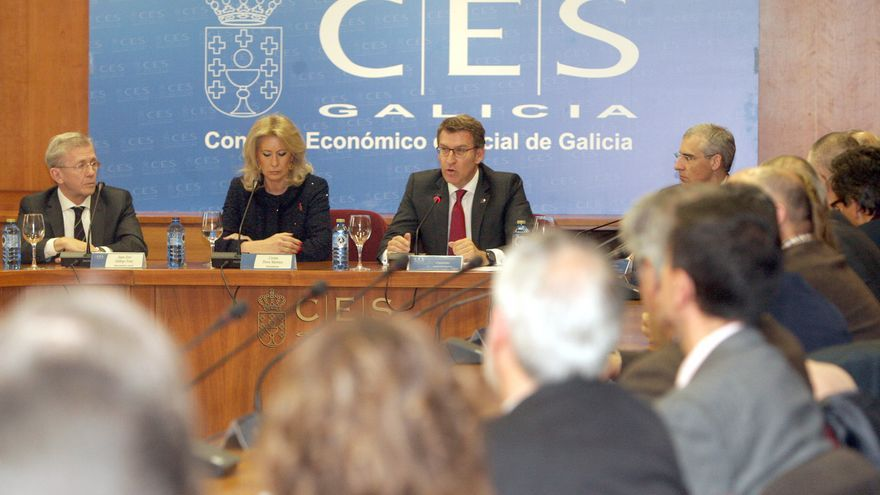 El presidente Feijóo en un acto del Consejo Económico y Social de Galicia con su presidenta, Corina Porro