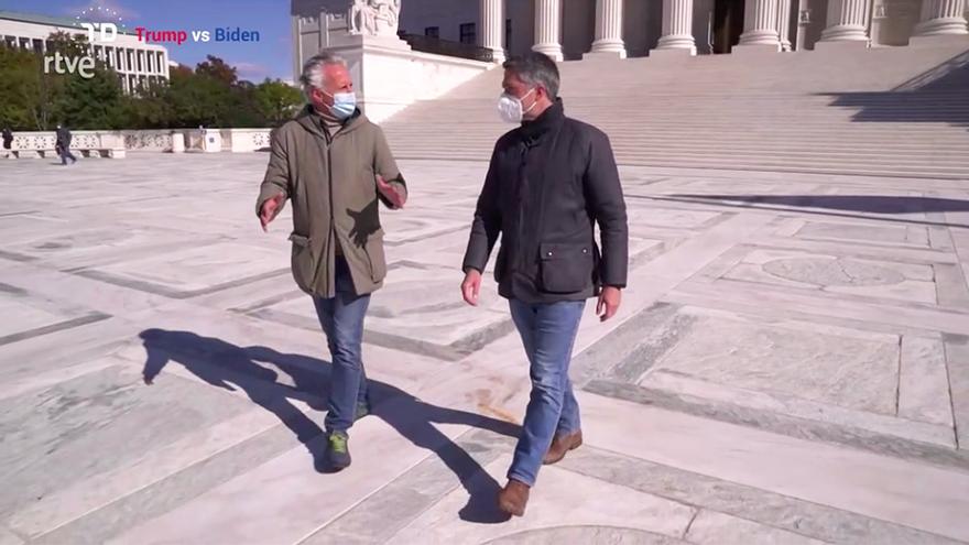 Elogios para el Telediario 2 de TVE por el 'paseo' de Carlos Franganillo y Lorenzo Milá en Washington