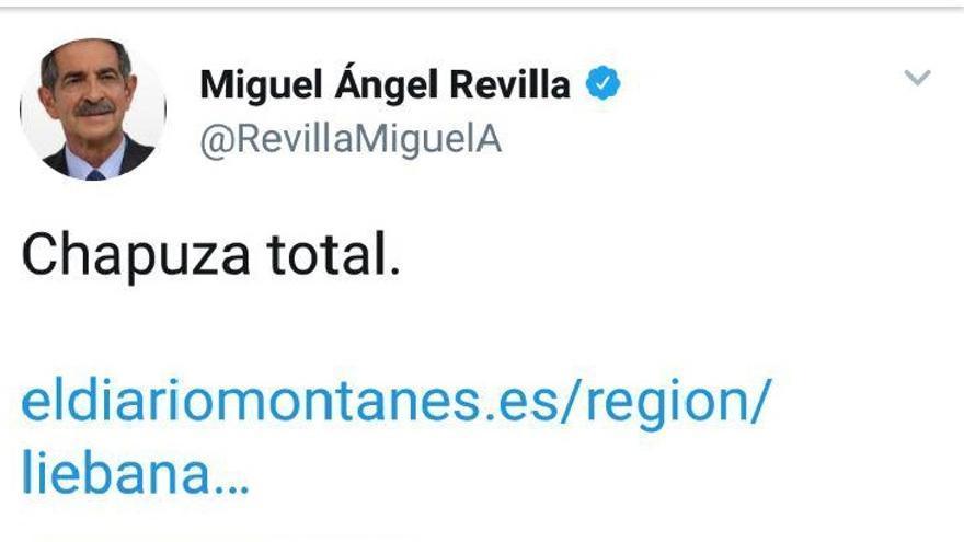 Captura de pantalla del tuit de presidente de Cantabria que posteriormente ha borrado de su cuenta personal
