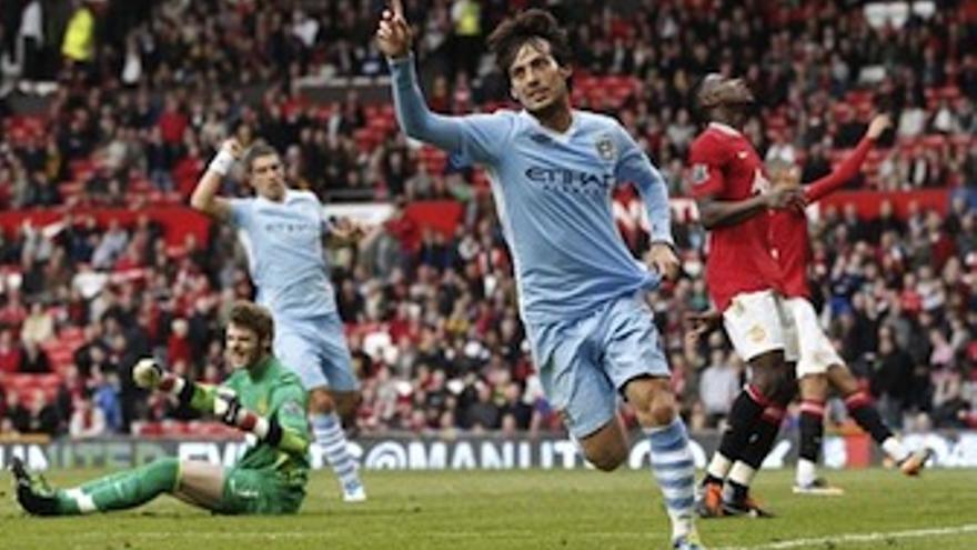 David Silva celebra un gol con el Manchester City. (EUROPA PRESS)