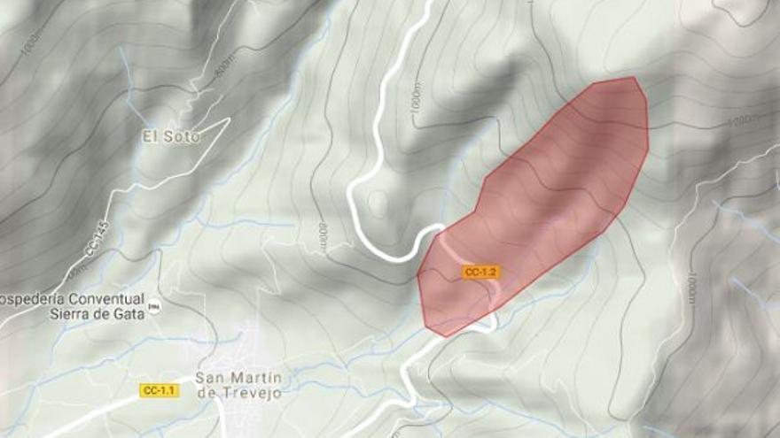 incendio San Martin Trevejo Gata mapa