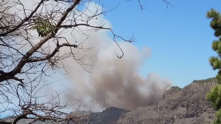 Fuego en la cumbre de Gran Canaria.