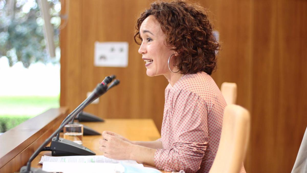 La parlamentaria andaluza por Córdoba de Unidas Podemos por Andalucía (UPporA), Ana Naranjo, en el Parlamento andaluz.