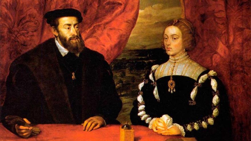 Carlos I y su esposa Isabel.