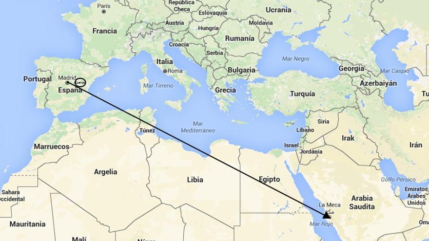 Línea recta entre Madrid y La Meca, con Cuenca en la trayectoria