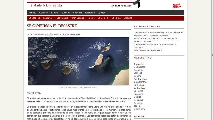 Captura de pantalla del falso digital que simula un derrame frente a la costa de Canarias.