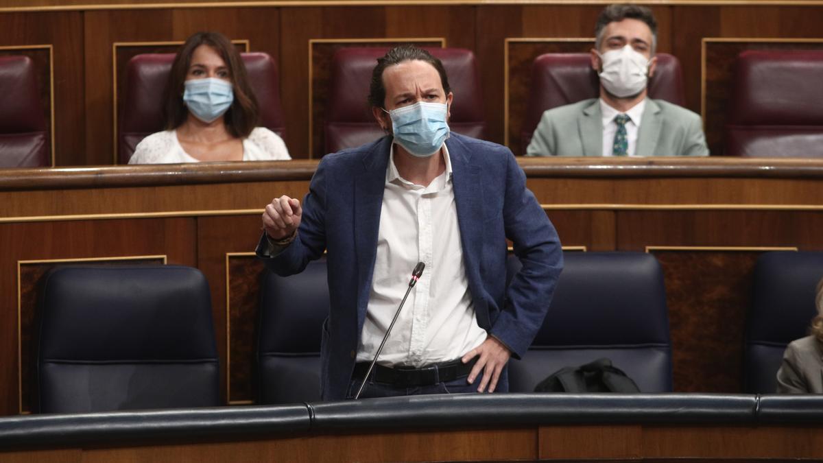 Pablo Iglesias, durante la sesión de control al Gobierno del miércoles 16 de septiembre