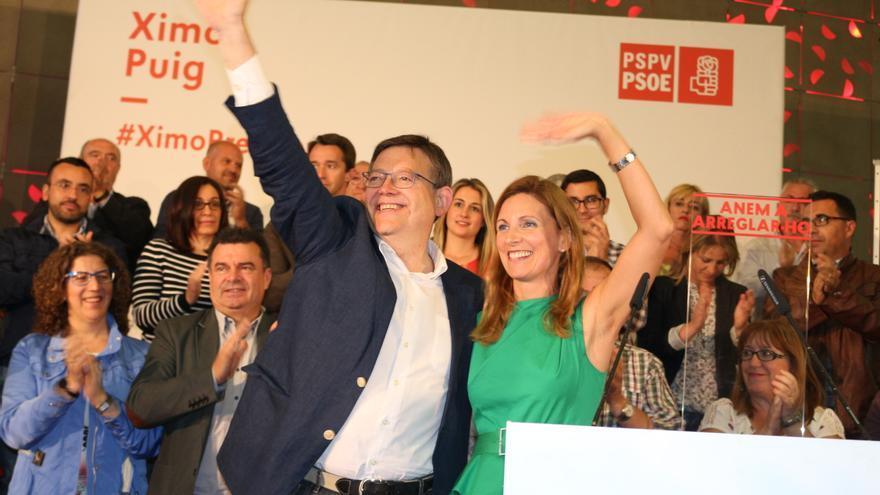 Ximo Puig y Amparo Marco en un mítin del PSPV en Castellón.