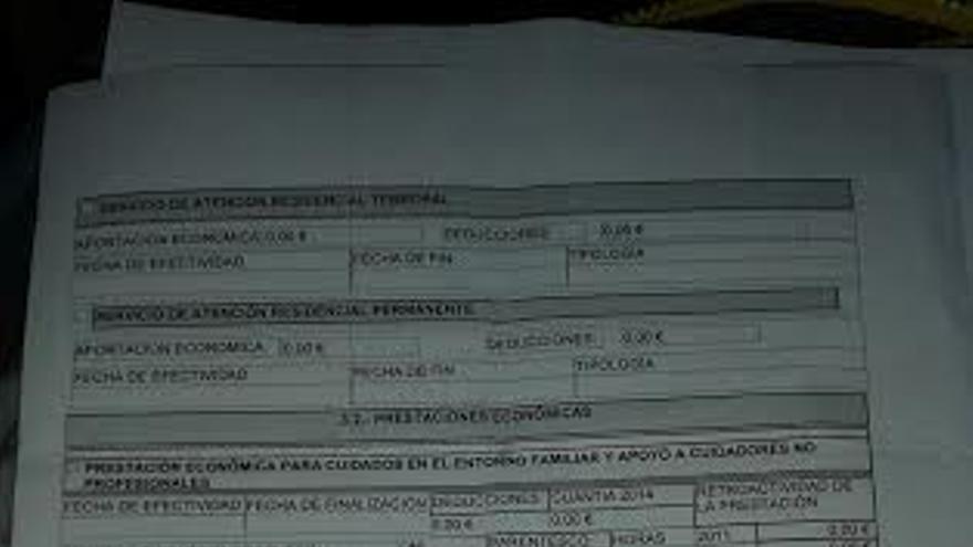 Documento prestacion de cero euros a un dependiente / Foto: Plataforma por la Defensa de la Ley de Dependencia