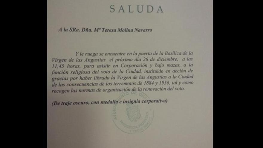 Comunicación enviada a Maite Molina con motivo de la celebración de la Virgen de las Angustias
