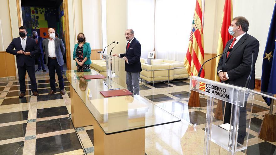 El presidente del Gobierno de Aragón, Javier Lambán, ha realizado las declaraciones en el Edificio Pignatelli.