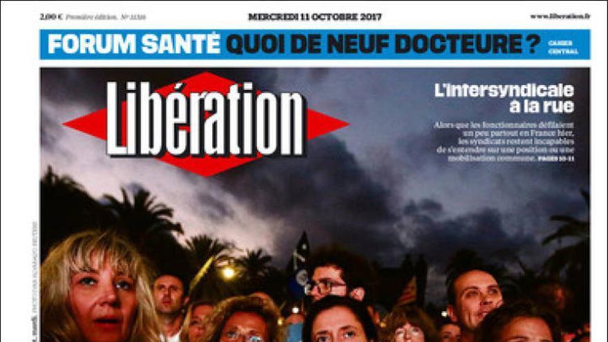 """La portada del diario francés Libération: """"Barcelona juega la prórroga"""""""