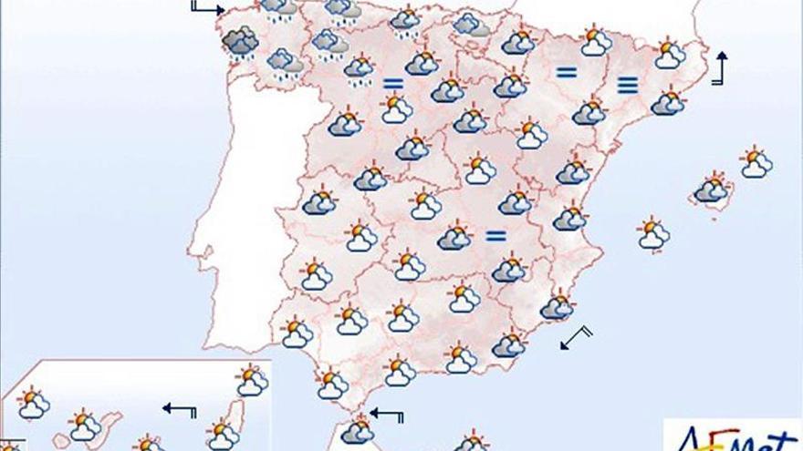La mayor parte de España se cubrirá hoy de cielos nubosos