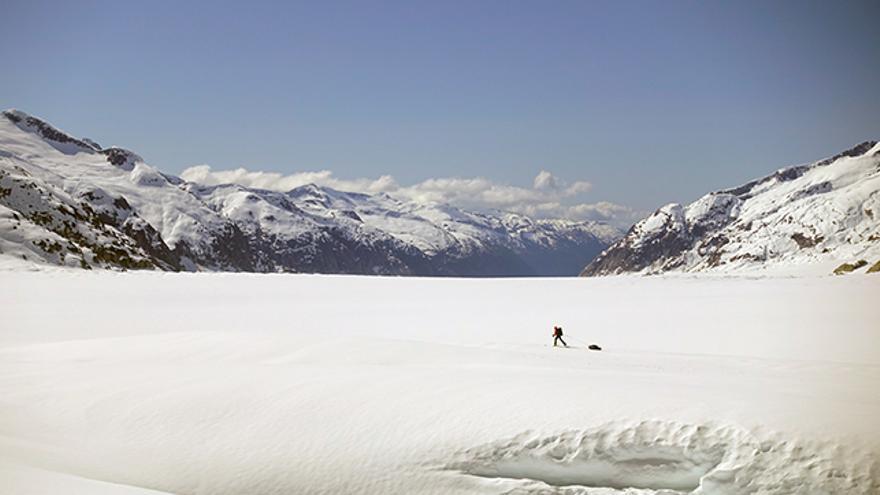 Mark en medio del glaciar North Baird.