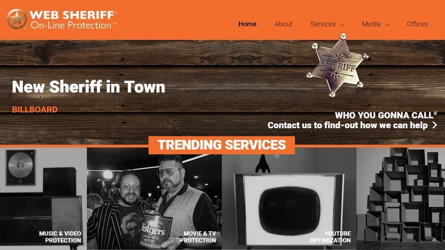 Página de Web Sheriff, empresa especializada en perseguir delitos de violación de los derechos de autor.
