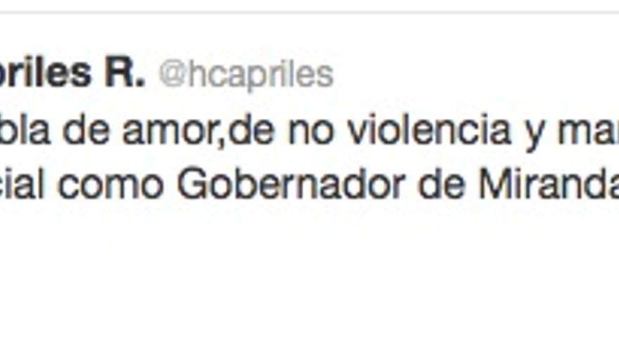 Mensaje de Capriles en Twitter