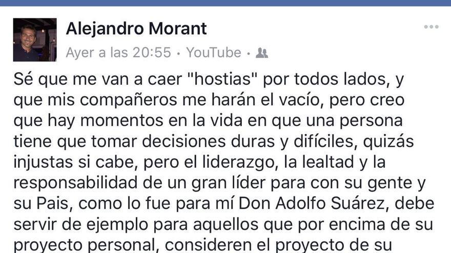 El texto de Morant en el que pide la dimisión de Mariano Rajoy