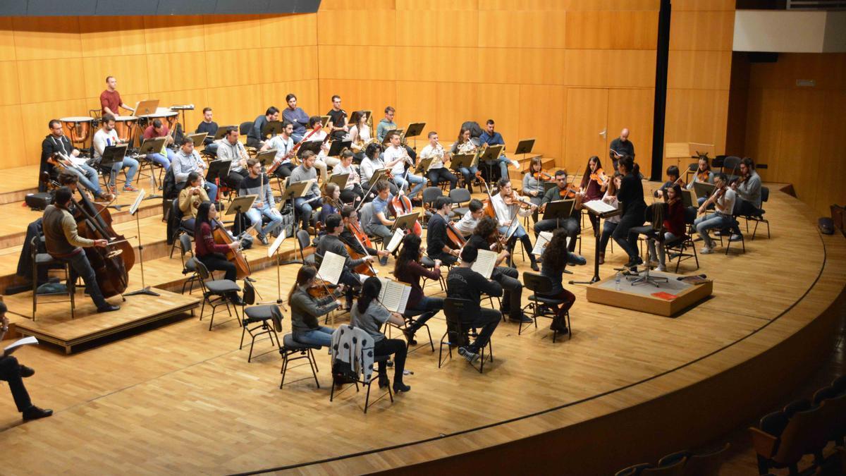 Músicos de una orquesta (imagen de archivo)