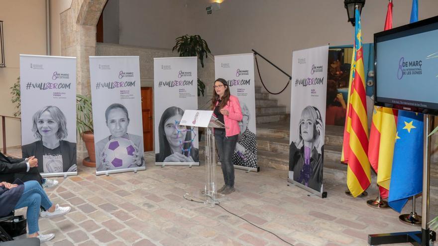 La vicepresidenta del Consell, Mónica Oltra, durante la presentación de la campaña del 8M