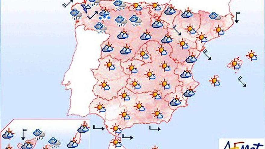 Vientos fuertes en Galicia y el Cantábrico y nevadas en el norte
