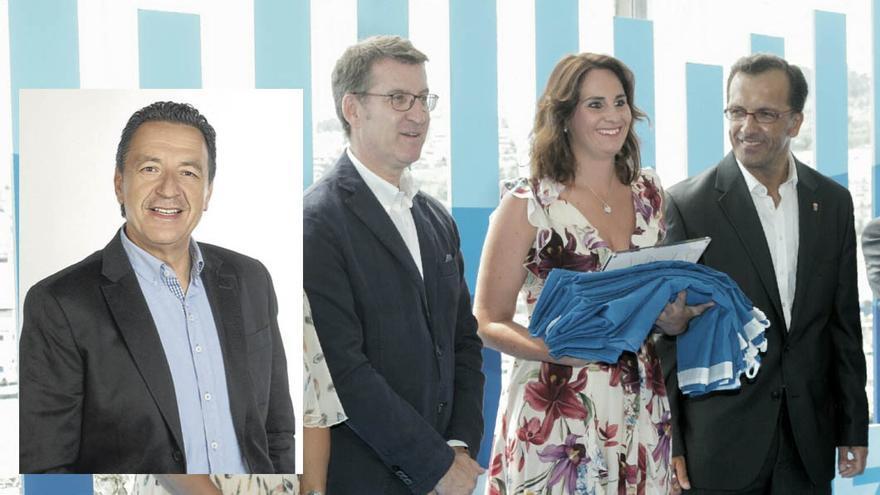 Antonio Amorín (recuadro), único cargo en la historia de UPyD en Galicia y antes edil del PP, será el 'número 2' de la lista de Vox en Baiona que encabeza María Iglesias, exteniente de alcalde del PP, en la imagen con Feijóo y el regidor, Ángel Rodal Almuiña