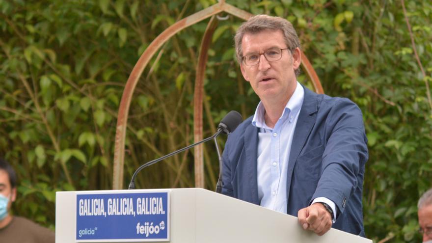 Feijóo en una imagen de archivo durante un mitin en Ourense